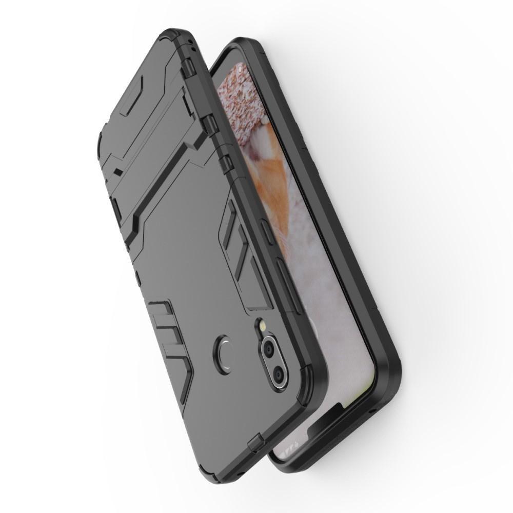 Защитный усиленный гибридный чехол противоударный с подставкой для Huawei Honor Play Черный