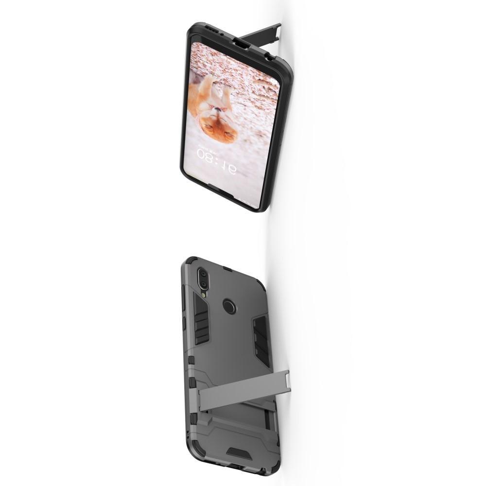 Защитный усиленный гибридный чехол противоударный с подставкой для Huawei Honor Play Серый