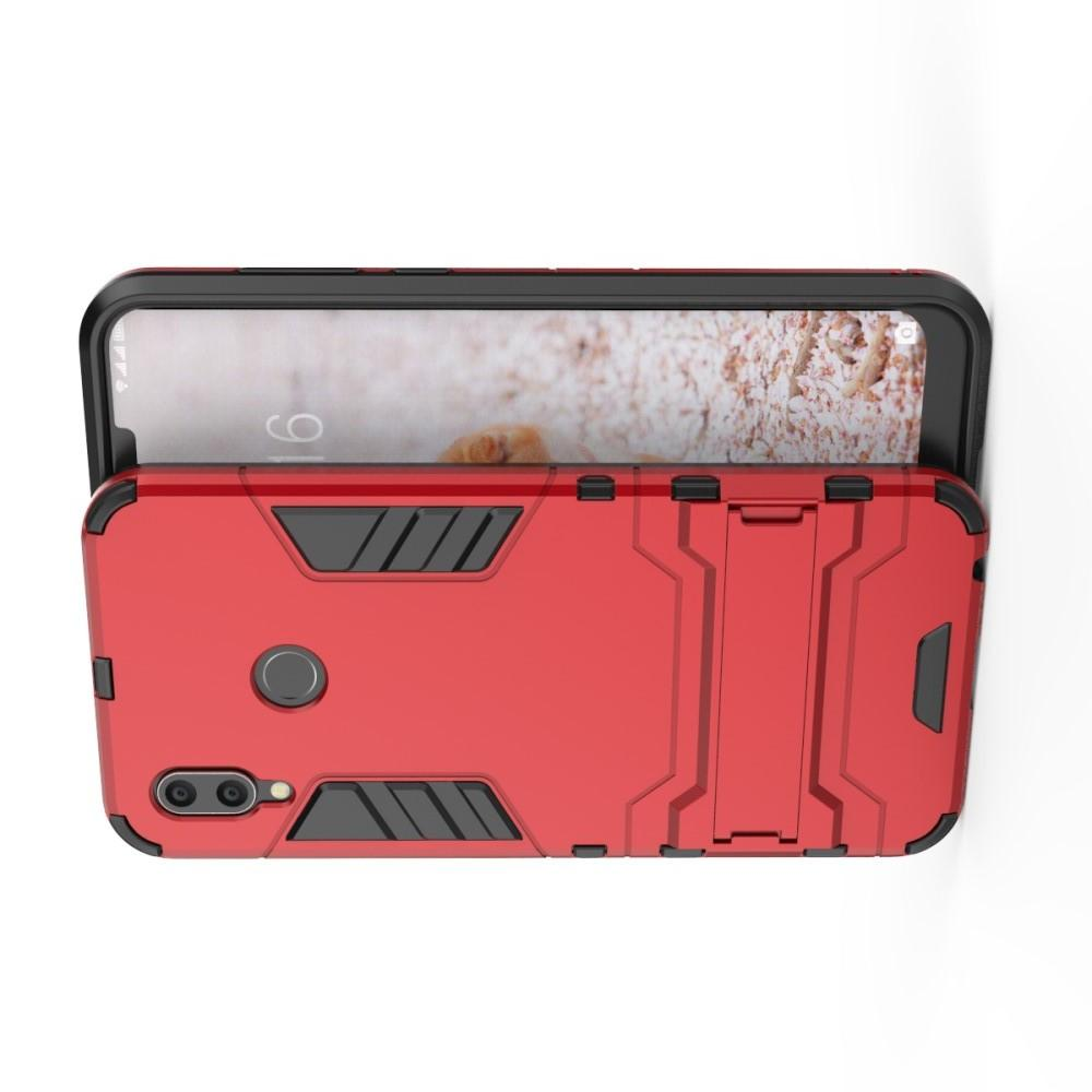 Защитный усиленный гибридный чехол противоударный с подставкой для Huawei Honor Play Красный