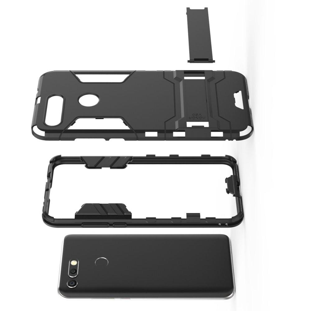 Защитный усиленный гибридный чехол противоударный с подставкой для Huawei Honor View 20 (V20) Черный