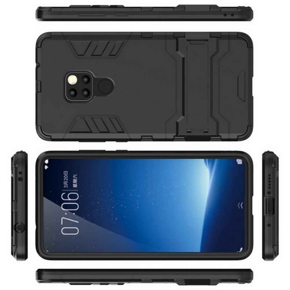 Защитный усиленный гибридный чехол противоударный с подставкой для Huawei Mate 20 Черный