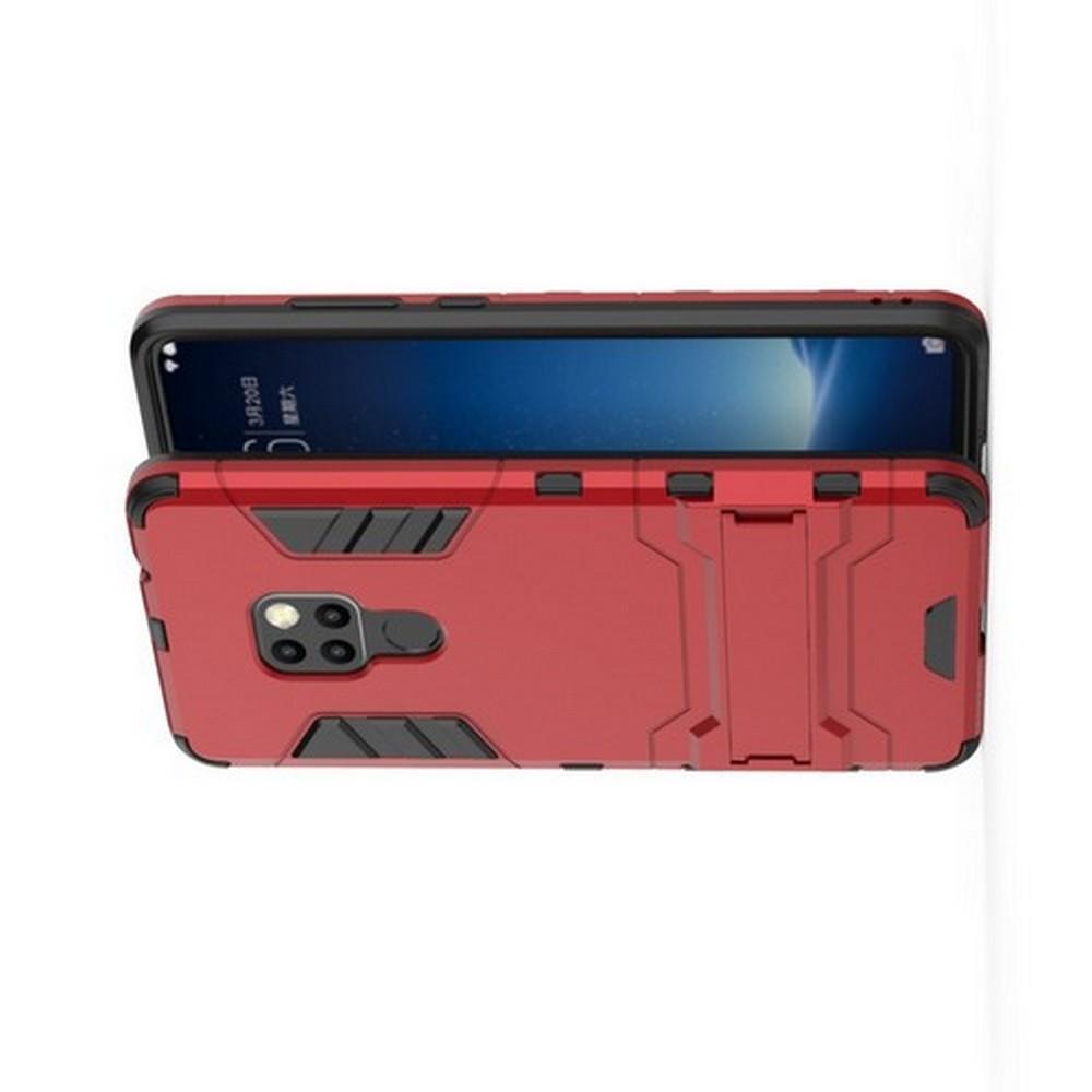 Защитный усиленный гибридный чехол противоударный с подставкой для Huawei Mate 20 Красный