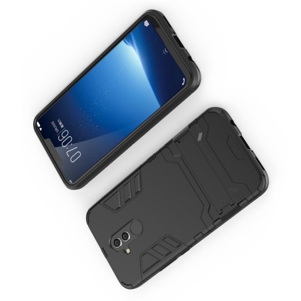 Защитный усиленный гибридный чехол противоударный с подставкой для Huawei Mate 20 Lite Черный