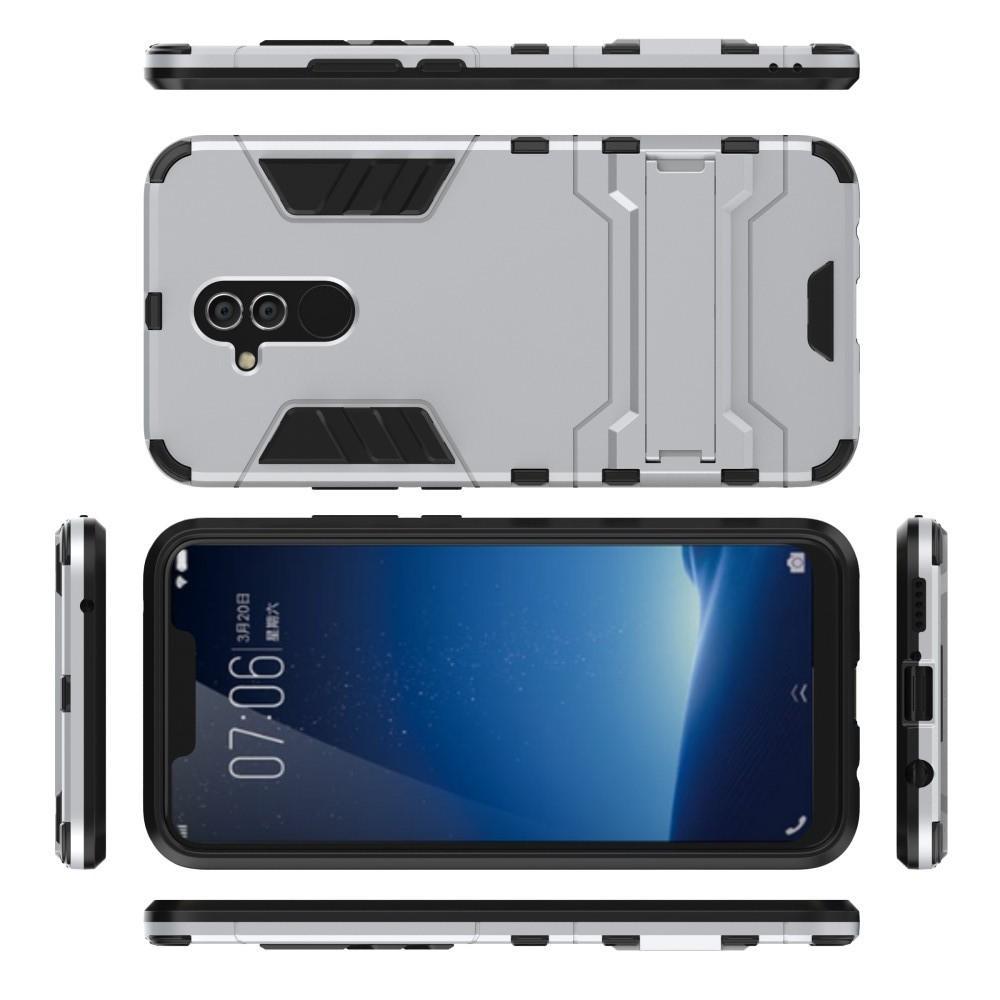 Защитный усиленный гибридный чехол противоударный с подставкой для Huawei Mate 20 Lite Белый