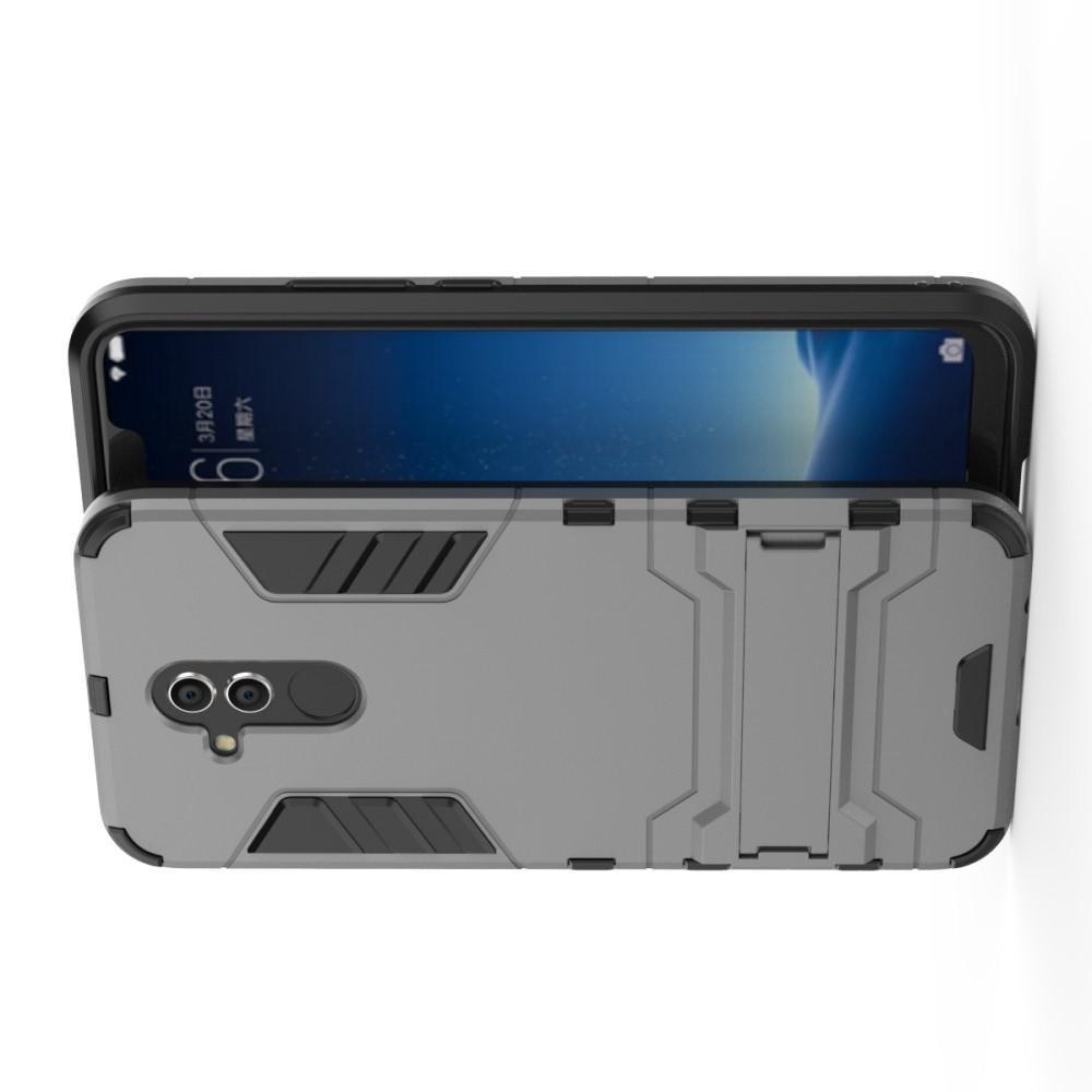 Защитный усиленный гибридный чехол противоударный с подставкой для Huawei Mate 20 Lite Серый