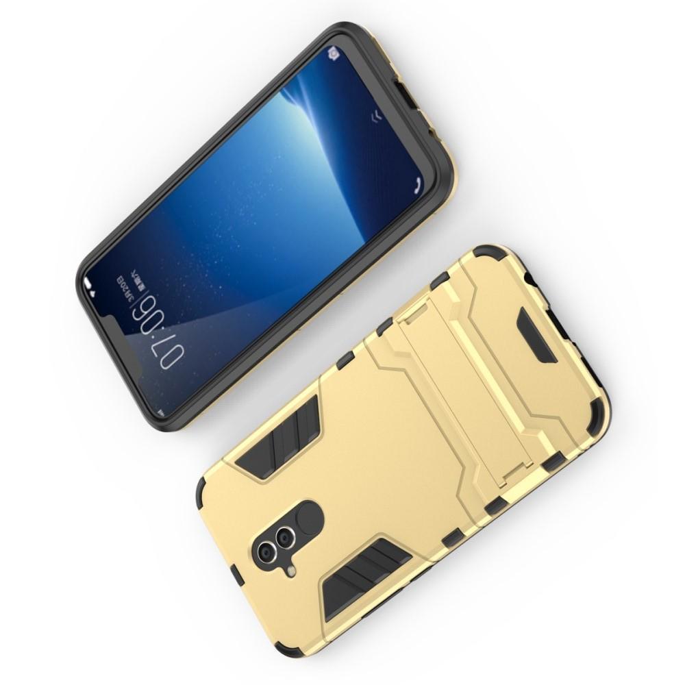 Защитный усиленный гибридный чехол противоударный с подставкой для Huawei Mate 20 Lite Золотой