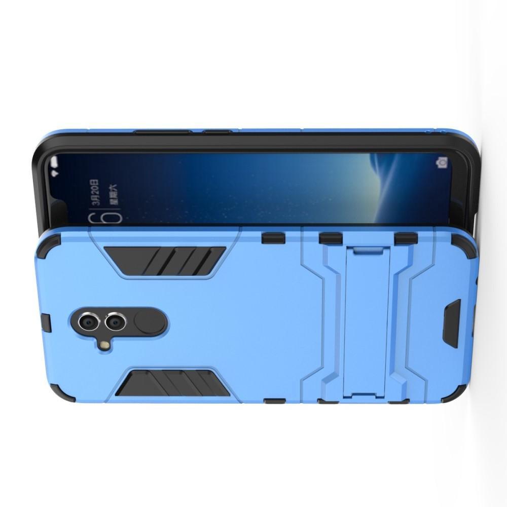 Защитный усиленный гибридный чехол противоударный с подставкой для Huawei Mate 20 Lite Голубой