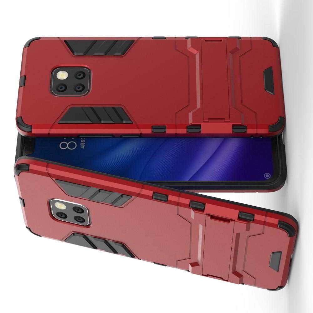 Защитный усиленный гибридный чехол противоударный с подставкой для Huawei Mate 20 Pro Красный
