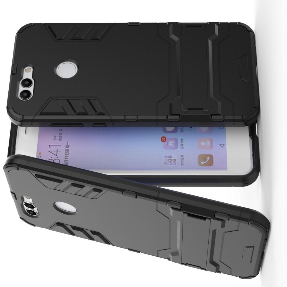 Защитный усиленный гибридный чехол противоударный с подставкой для Huawei Nova 2 Plus Черный