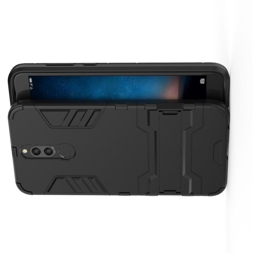 Защитный усиленный гибридный чехол противоударный с подставкой для Huawei Nova 2i / Mate 10 Lite Черный