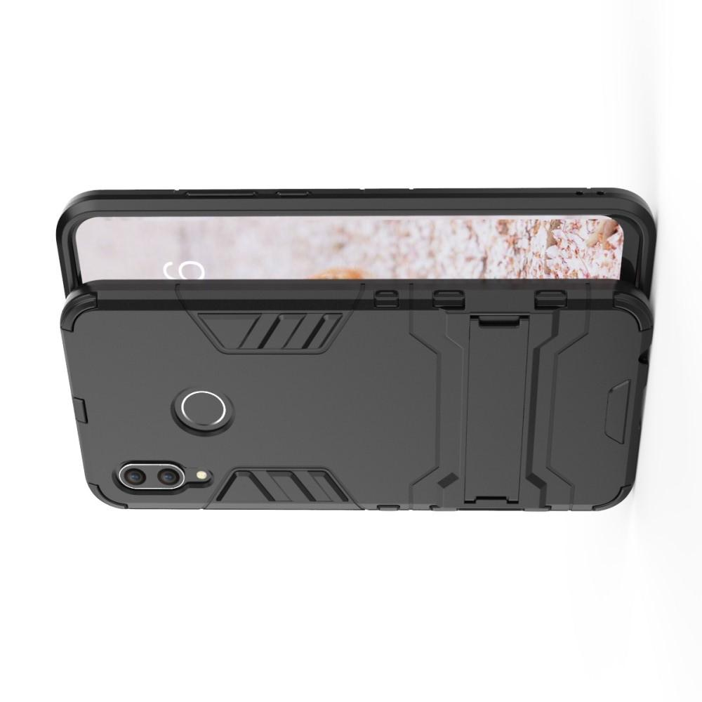 Защитный усиленный гибридный чехол противоударный с подставкой для Huawei nova 3 Черный