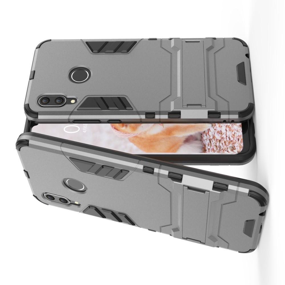 Защитный усиленный гибридный чехол противоударный с подставкой для Huawei nova 3 Серый
