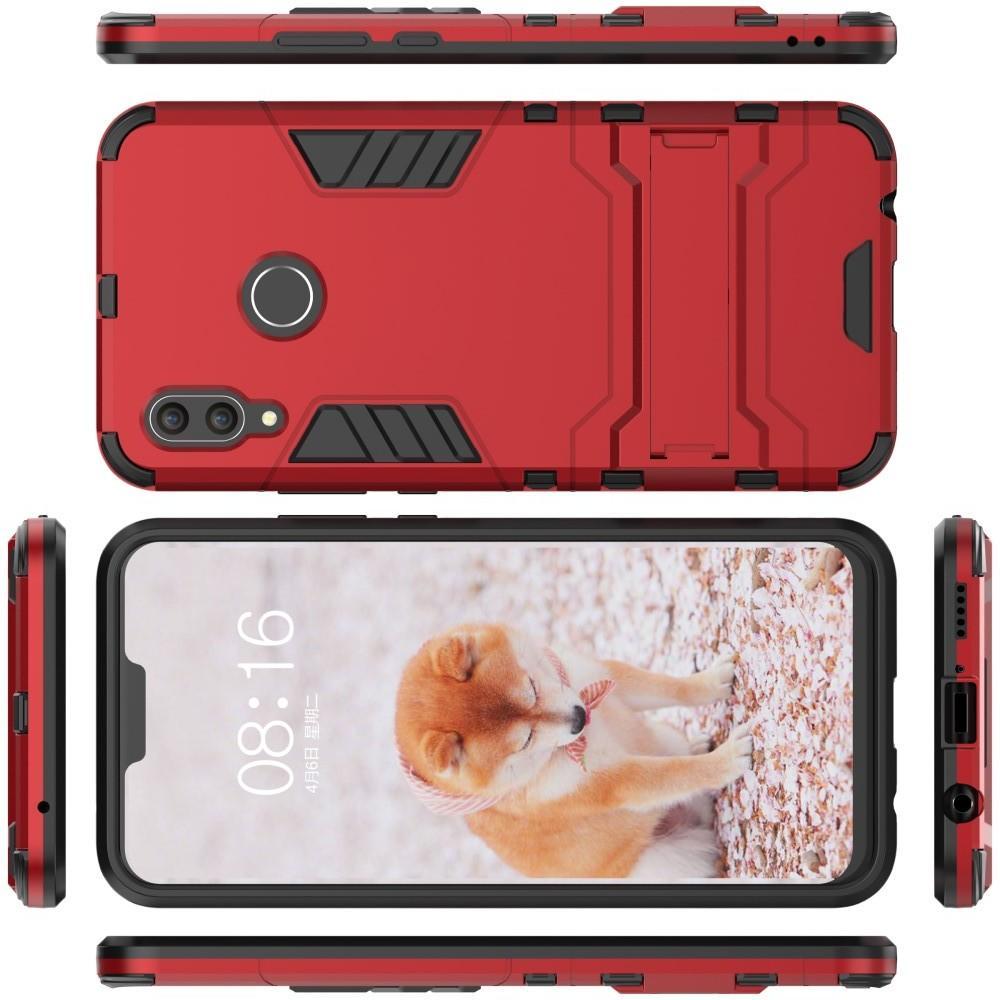 Защитный усиленный гибридный чехол противоударный с подставкой для Huawei nova 3 Красный