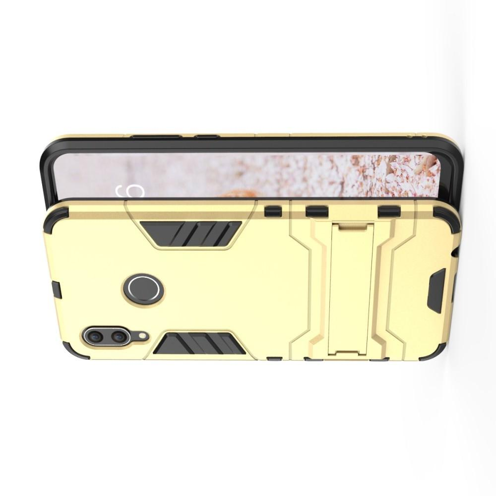 Защитный усиленный гибридный чехол противоударный с подставкой для Huawei nova 3 Золотой