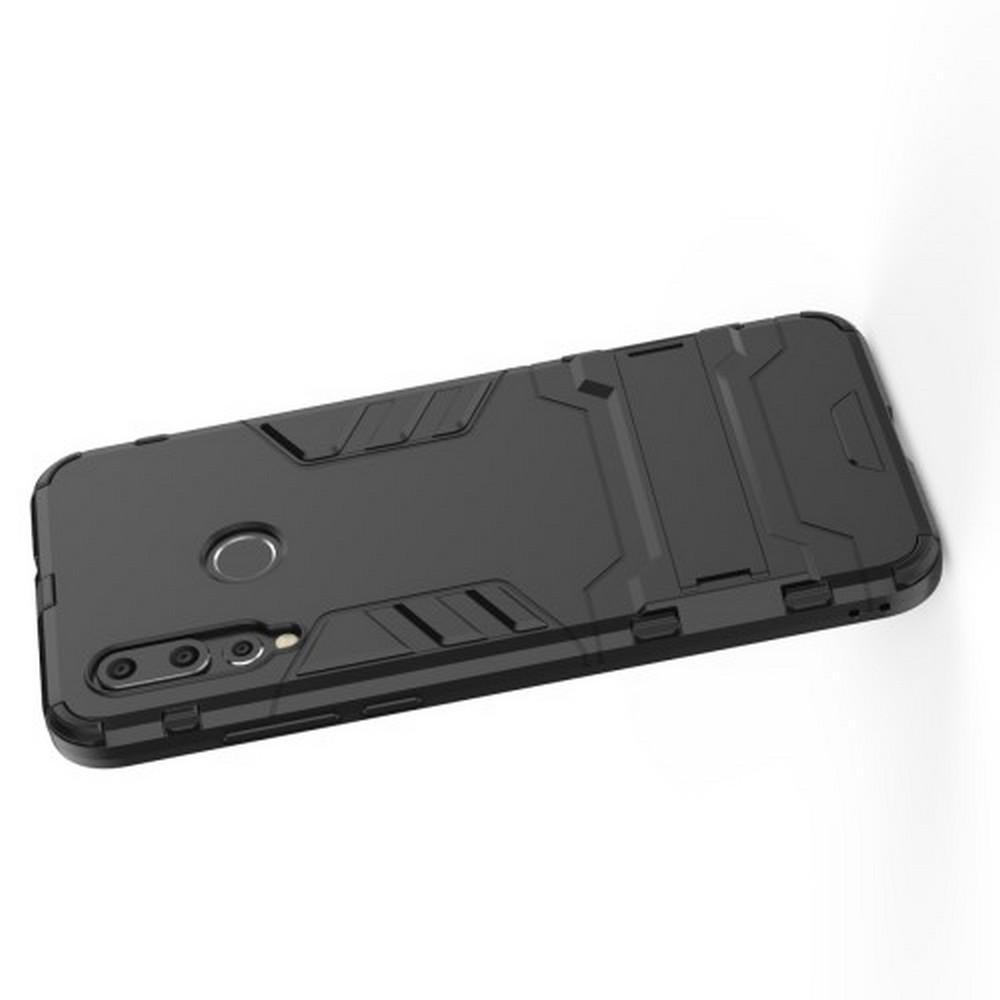 Защитный усиленный гибридный чехол противоударный с подставкой для Huawei Nova 4 Черный