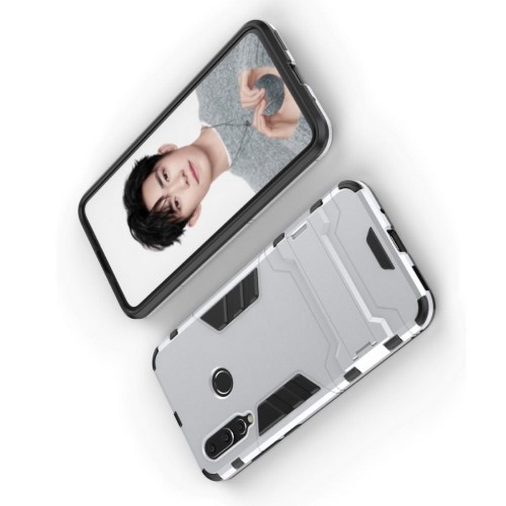 Защитный усиленный гибридный чехол противоударный с подставкой для Huawei Nova 4 Серебряный