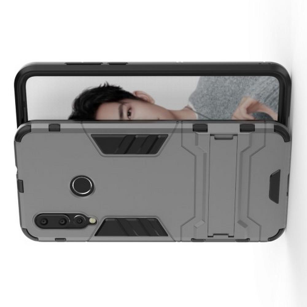 Защитный усиленный гибридный чехол противоударный с подставкой для Huawei Nova 4 Серый