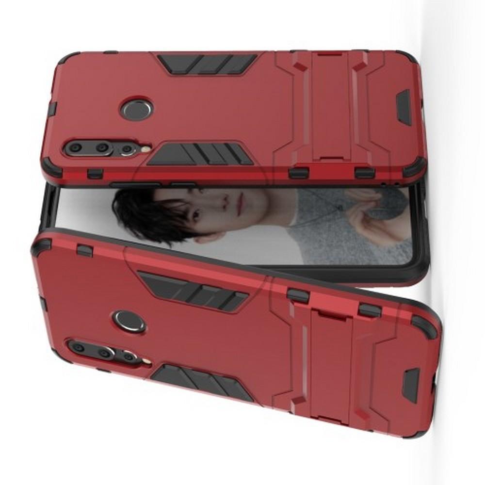 Защитный усиленный гибридный чехол противоударный с подставкой для Huawei Nova 4 Красный