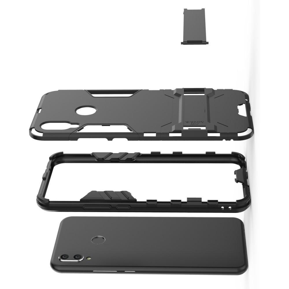 Защитный усиленный гибридный чехол противоударный с подставкой для Huawei P smart+ / Nova 3i Черный