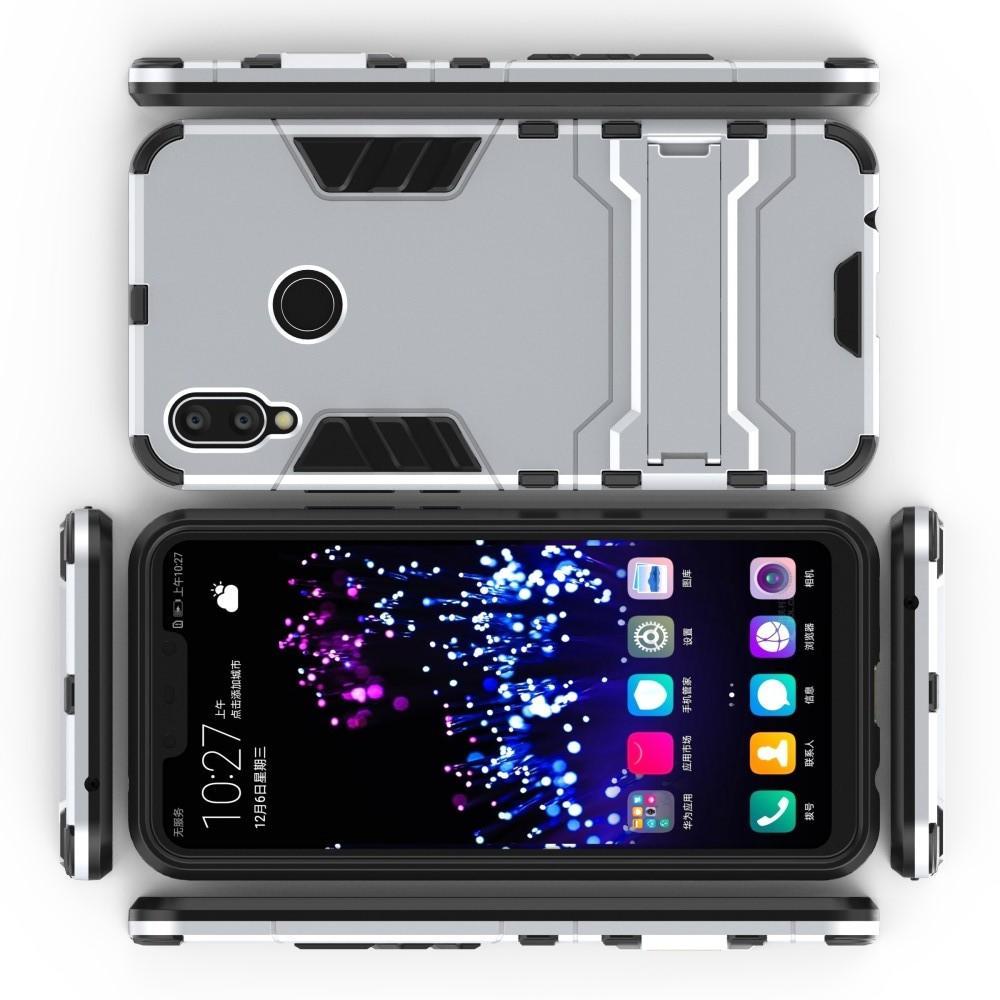 Защитный усиленный гибридный чехол противоударный с подставкой для Huawei P smart+ / Nova 3i Белый