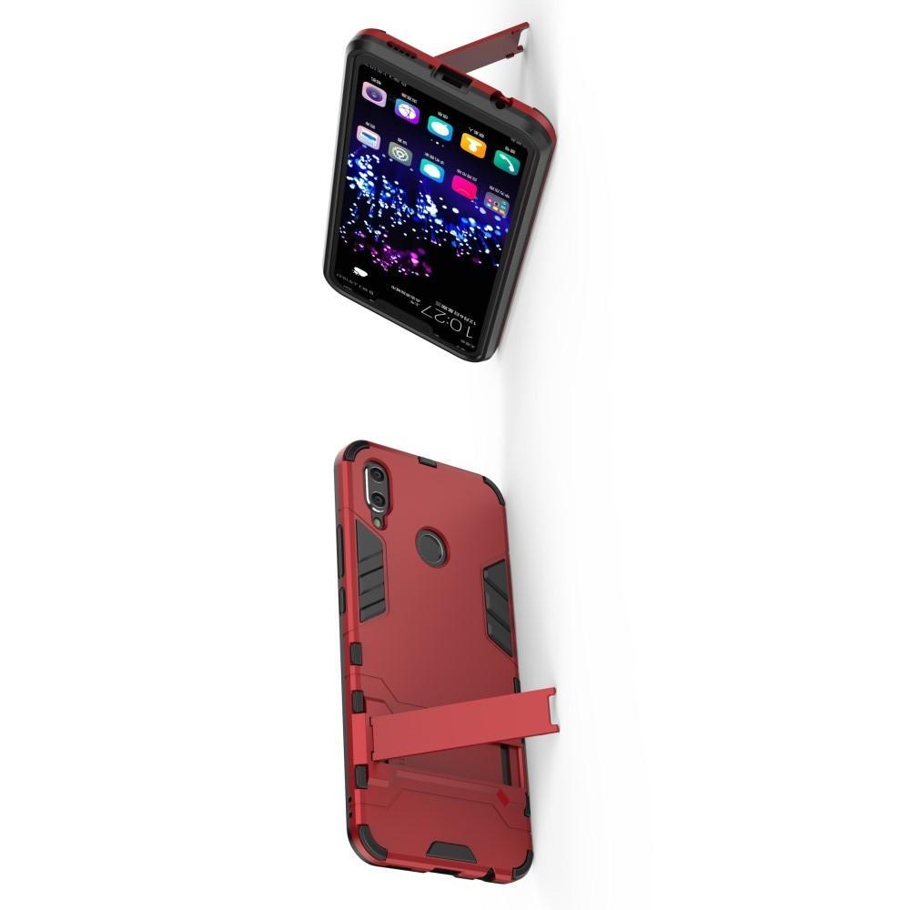 Защитный усиленный гибридный чехол противоударный с подставкой для Huawei P smart+ / Nova 3i Красный
