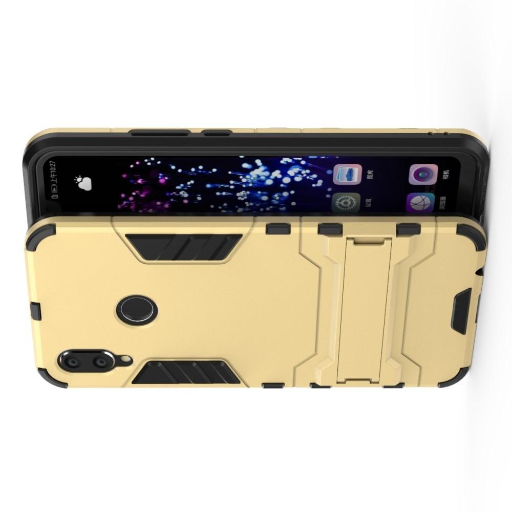 Защитный усиленный гибридный чехол противоударный с подставкой для Huawei P smart+ / Nova 3i Золотой