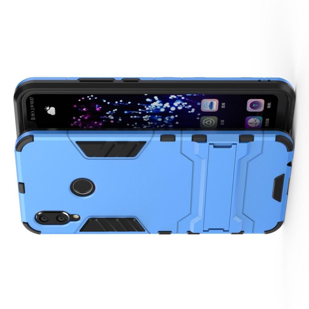 Защитный усиленный гибридный чехол противоударный с подставкой для Huawei P smart+ / Nova 3i Голубой