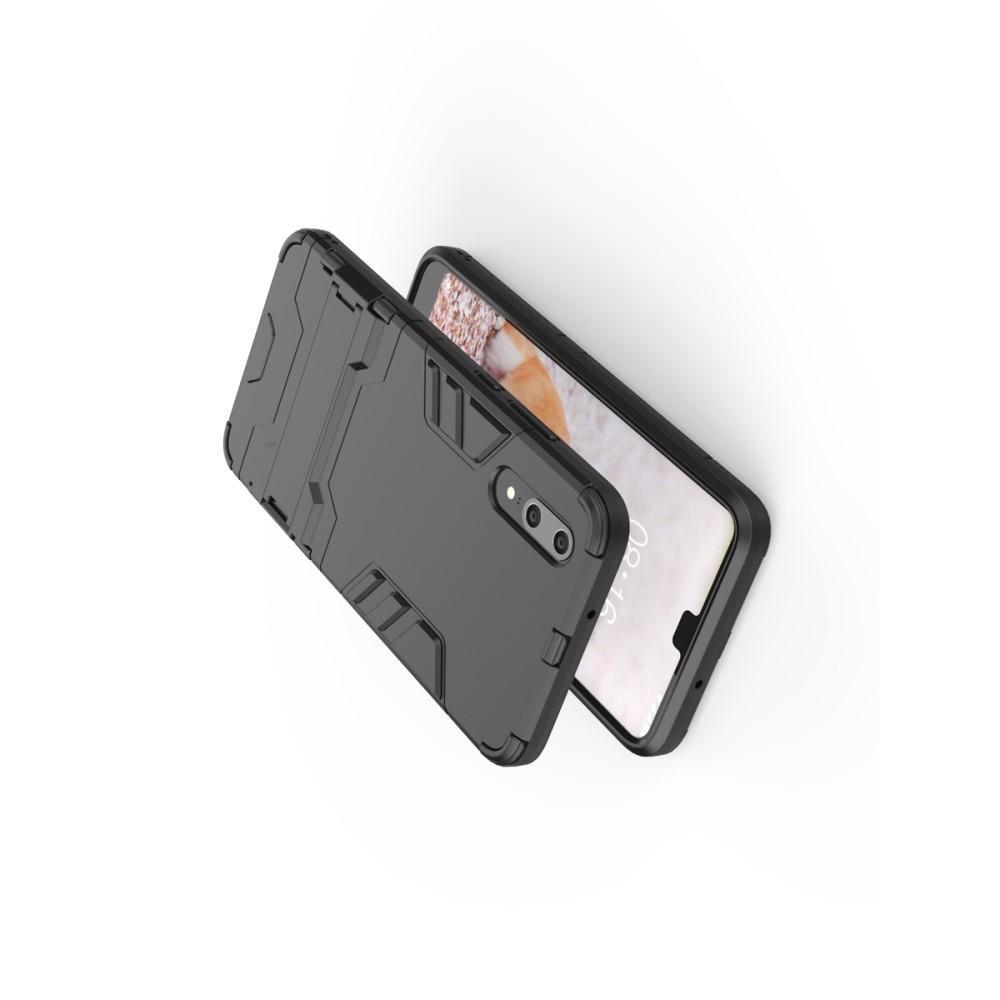 Защитный усиленный гибридный чехол противоударный с подставкой для Huawei P20 Черный