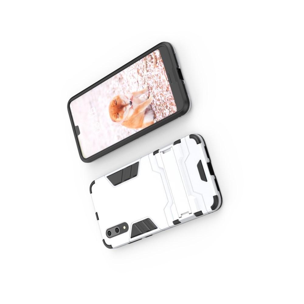 Защитный усиленный гибридный чехол противоударный с подставкой для Huawei P20 Белый