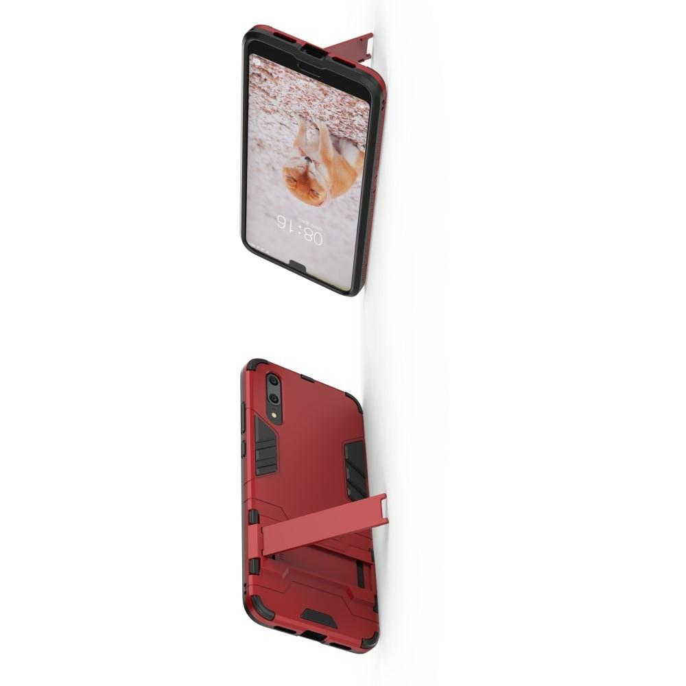 Защитный усиленный гибридный чехол противоударный с подставкой для Huawei P20 Красный