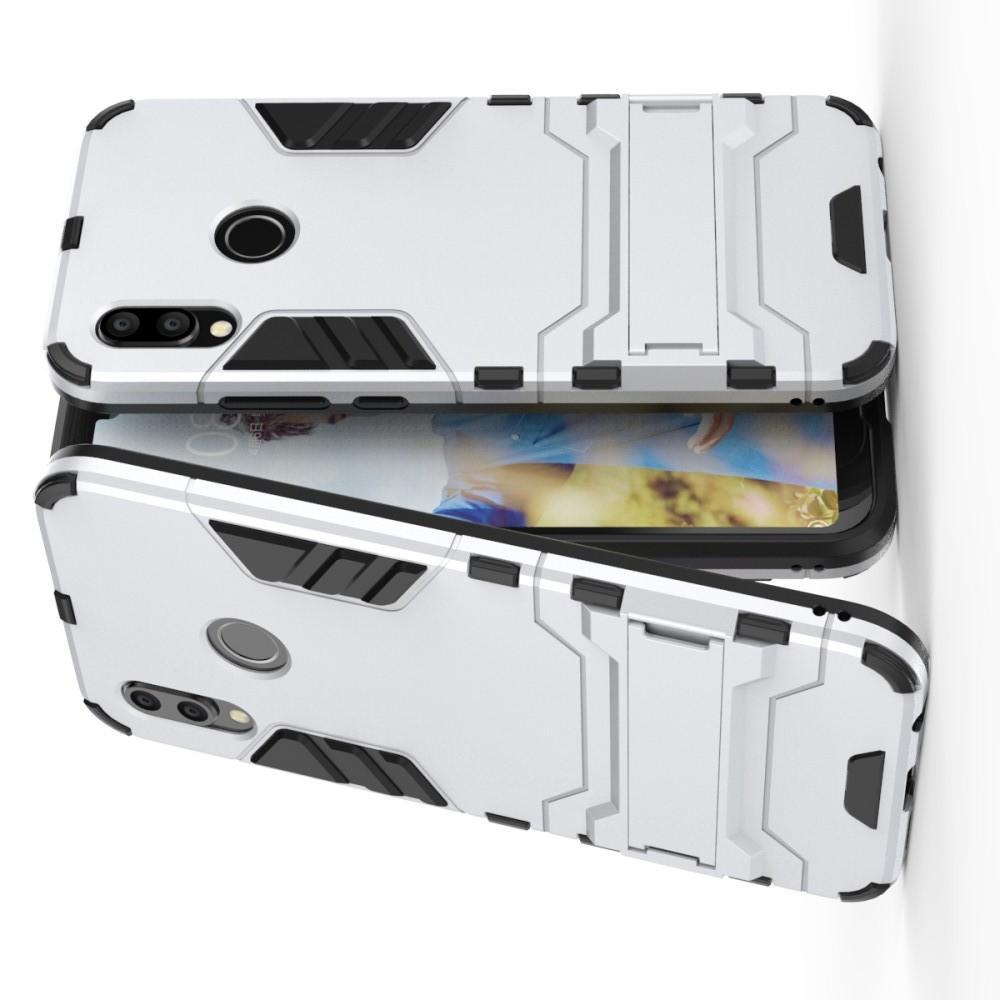 Защитный усиленный гибридный чехол противоударный с подставкой для Huawei P20 lite Белый