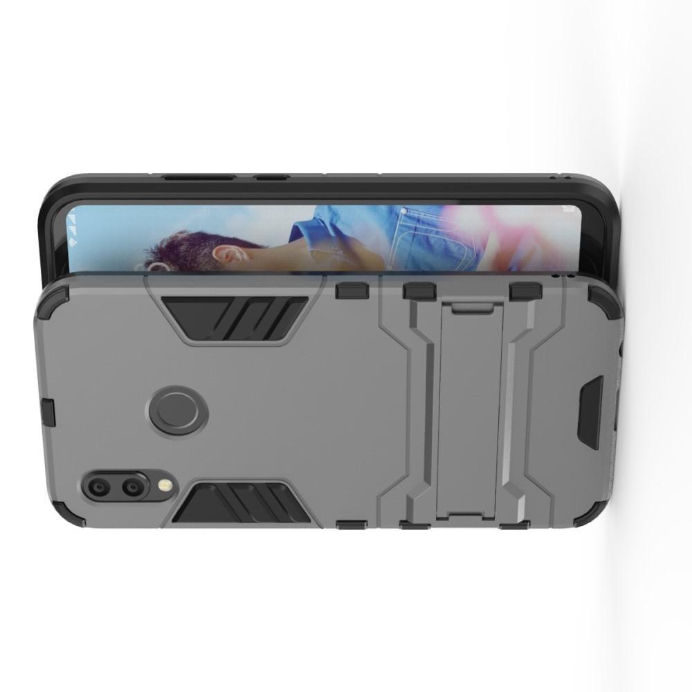Защитный усиленный гибридный чехол противоударный с подставкой для Huawei P20 lite Серый