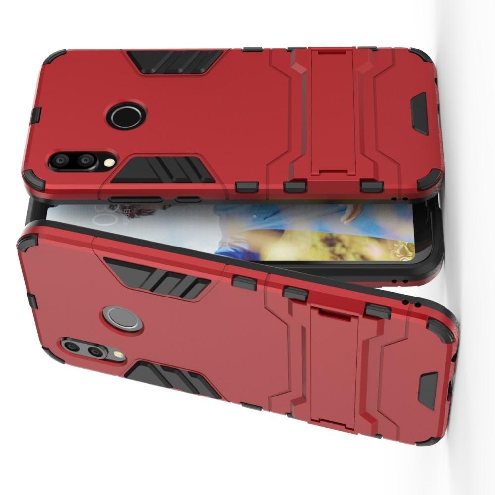 Защитный усиленный гибридный чехол противоударный с подставкой для Huawei P20 lite Красный