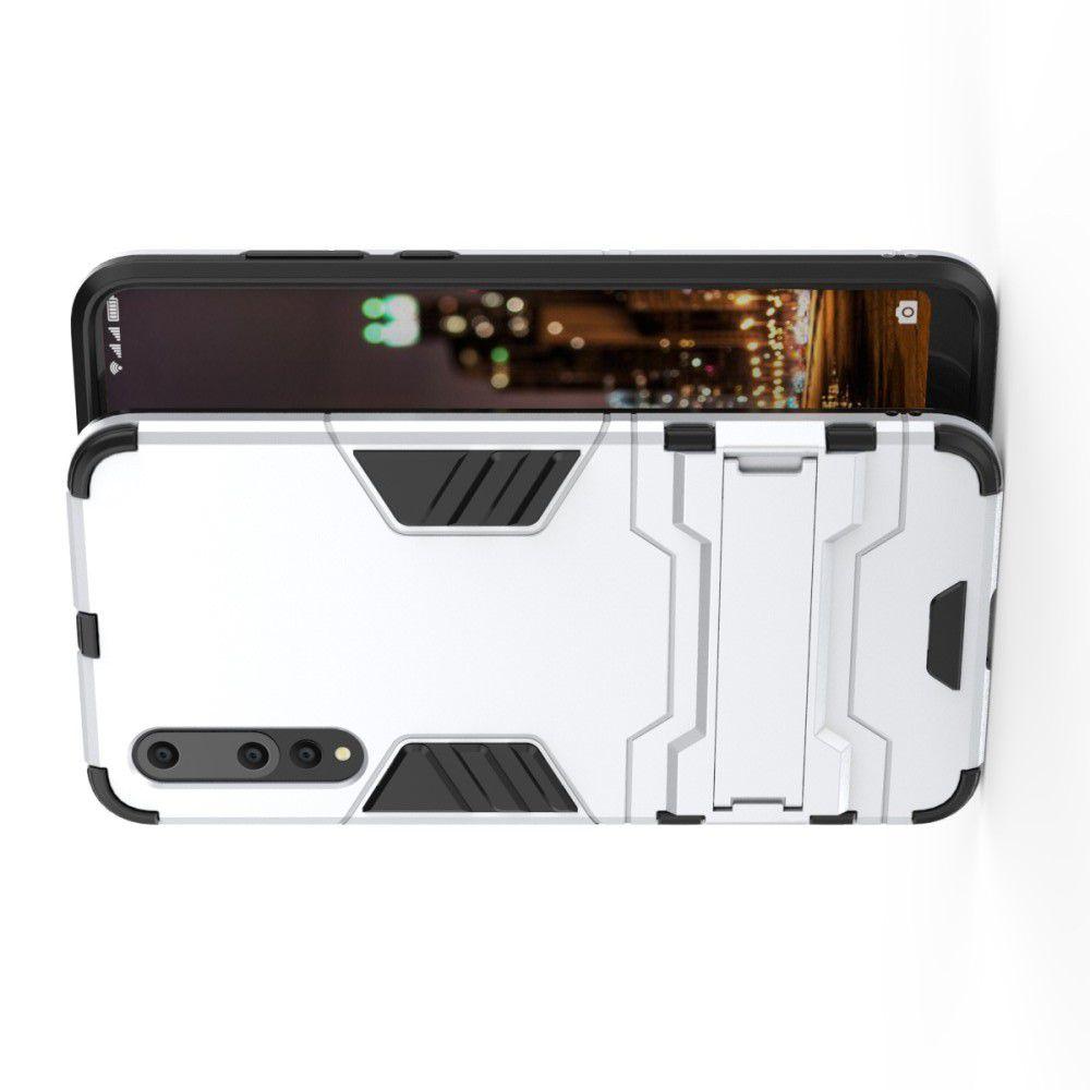 Защитный усиленный гибридный чехол противоударный с подставкой для Huawei P20 Pro Серебряный