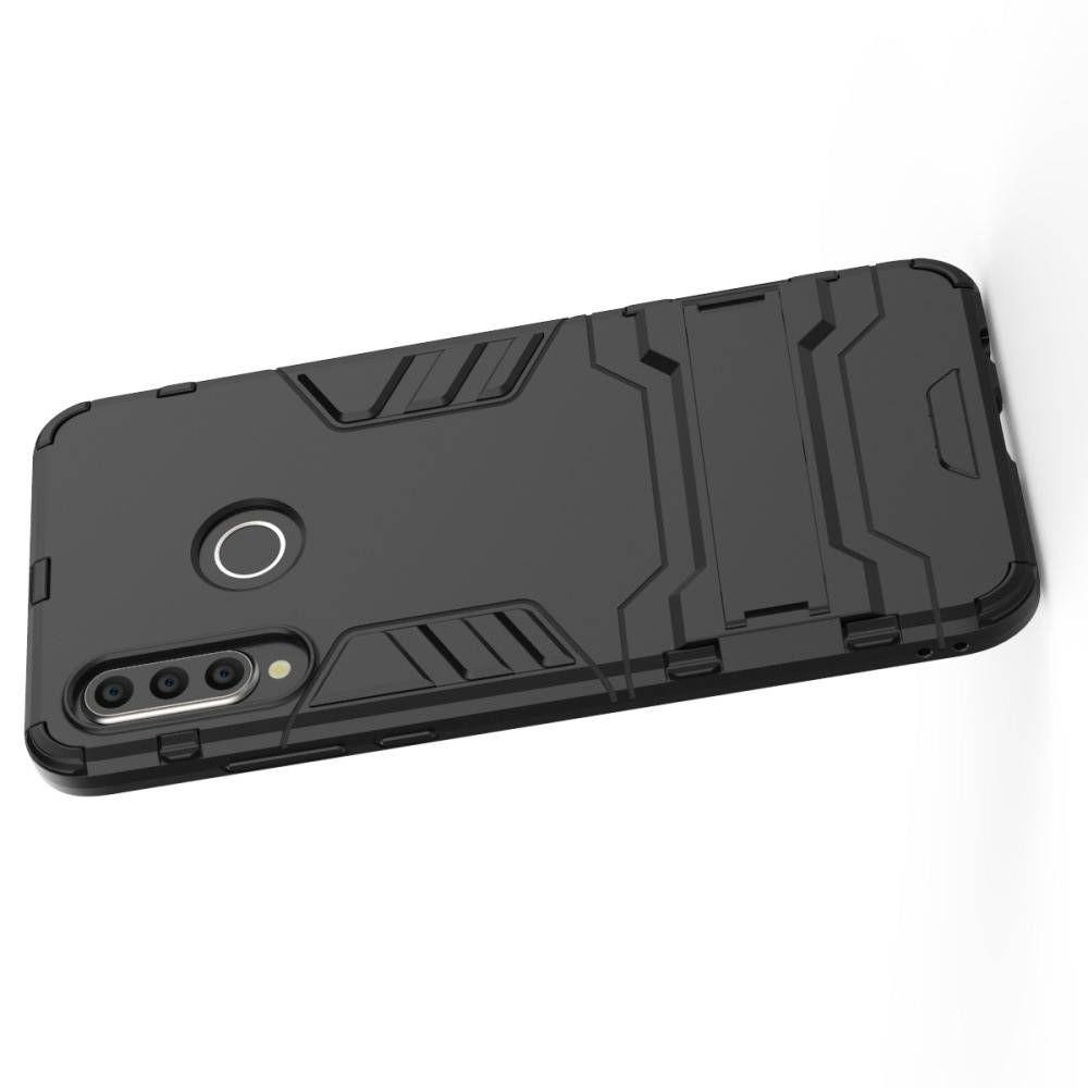 Защитный усиленный гибридный чехол противоударный с подставкой для Huawei P30 Lite Черный