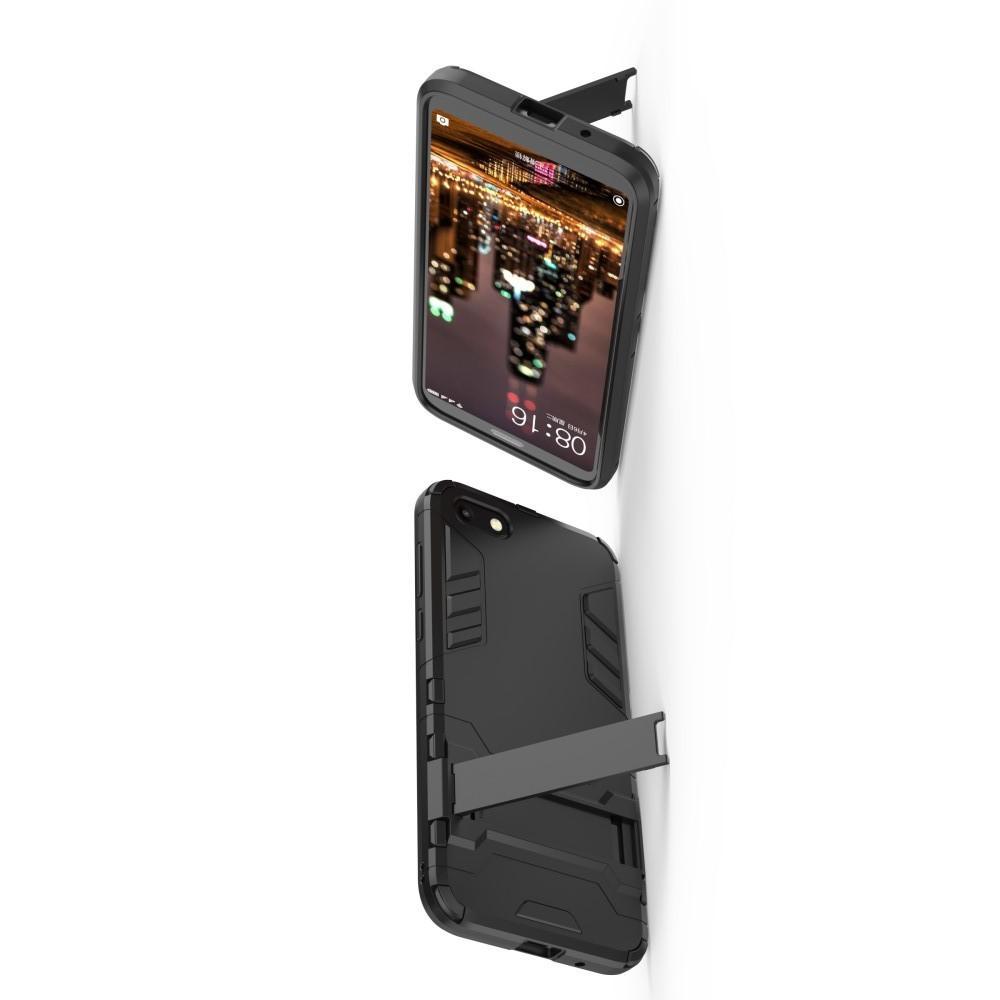 Защитный усиленный гибридный чехол противоударный с подставкой для Huawei Y5 2018 / Y5 Prime 2018 / Honor 7A Черный