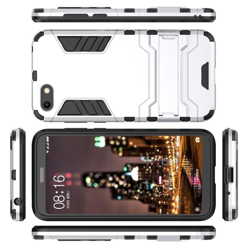 Защитный усиленный гибридный чехол противоударный с подставкой для Huawei Y5 2018 / Y5 Prime 2018 / Honor 7A Белый
