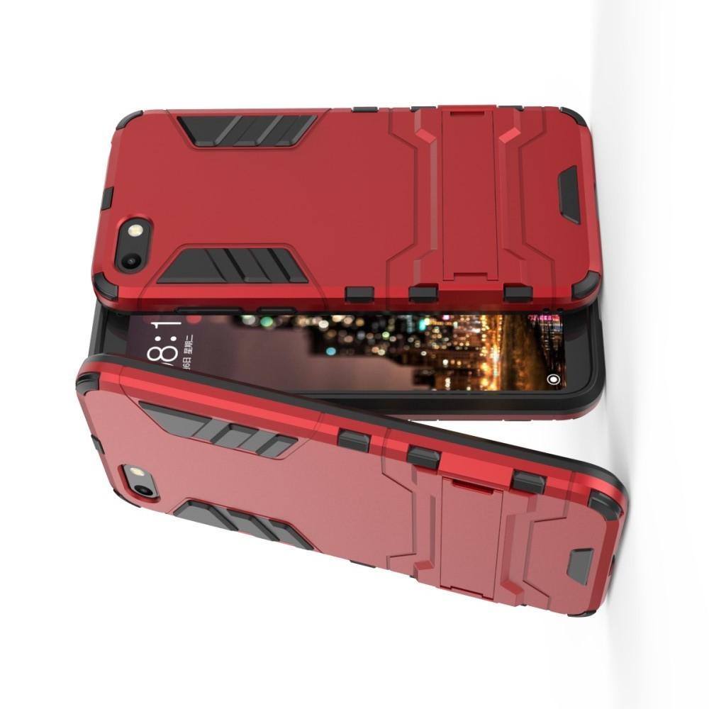 Защитный усиленный гибридный чехол противоударный с подставкой для Huawei Y5 2018 / Y5 Prime 2018 / Honor 7A Красный