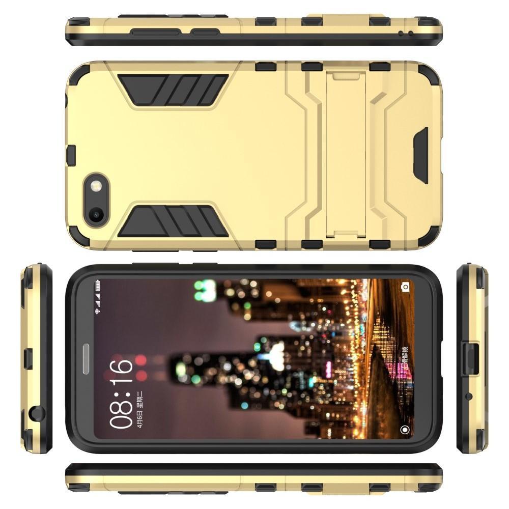 Защитный усиленный гибридный чехол противоударный с подставкой для Huawei Y5 2018 / Y5 Prime 2018 / Honor 7A Золотой