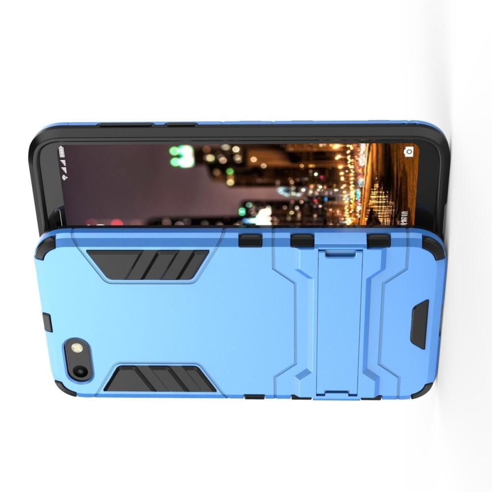 Защитный усиленный гибридный чехол противоударный с подставкой для Huawei Y5 2018 / Y5 Prime 2018 / Honor 7A Голубой