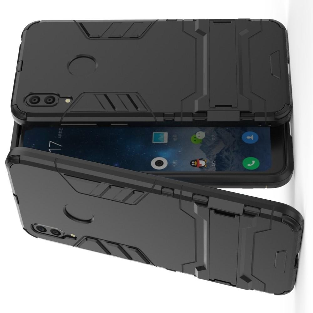 Защитный усиленный гибридный чехол противоударный с подставкой для Huawei Y7 / Y7 Pro 2019 Черный
