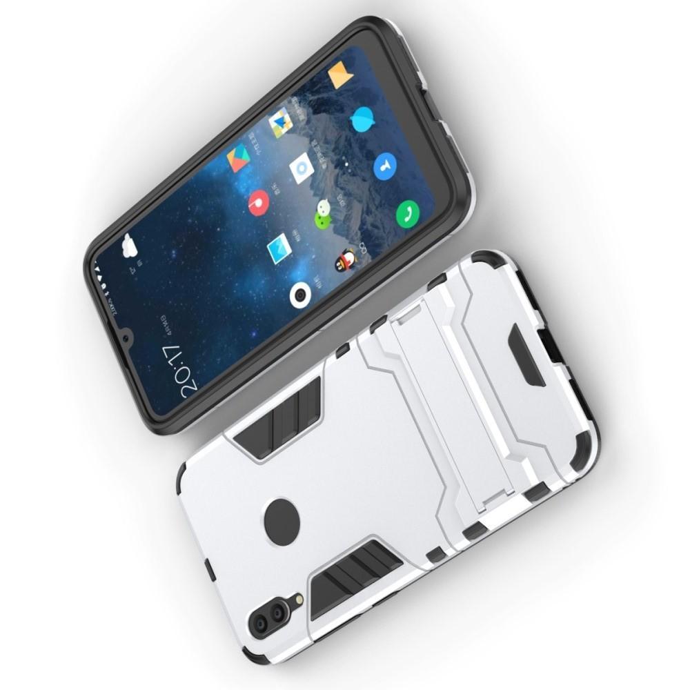 Защитный усиленный гибридный чехол противоударный с подставкой для Huawei Y7 / Y7 Pro 2019 Серебряный