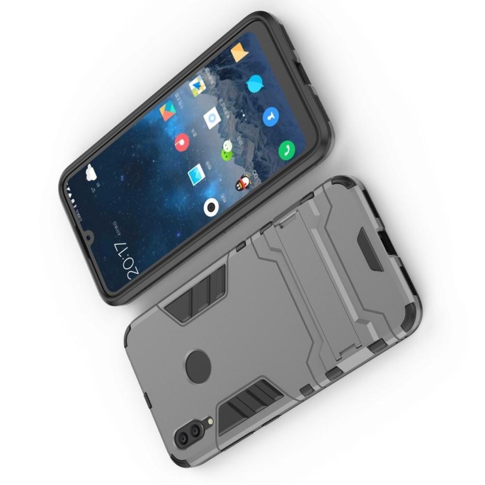 Защитный усиленный гибридный чехол противоударный с подставкой для Huawei Y7 / Y7 Pro 2019 Серый
