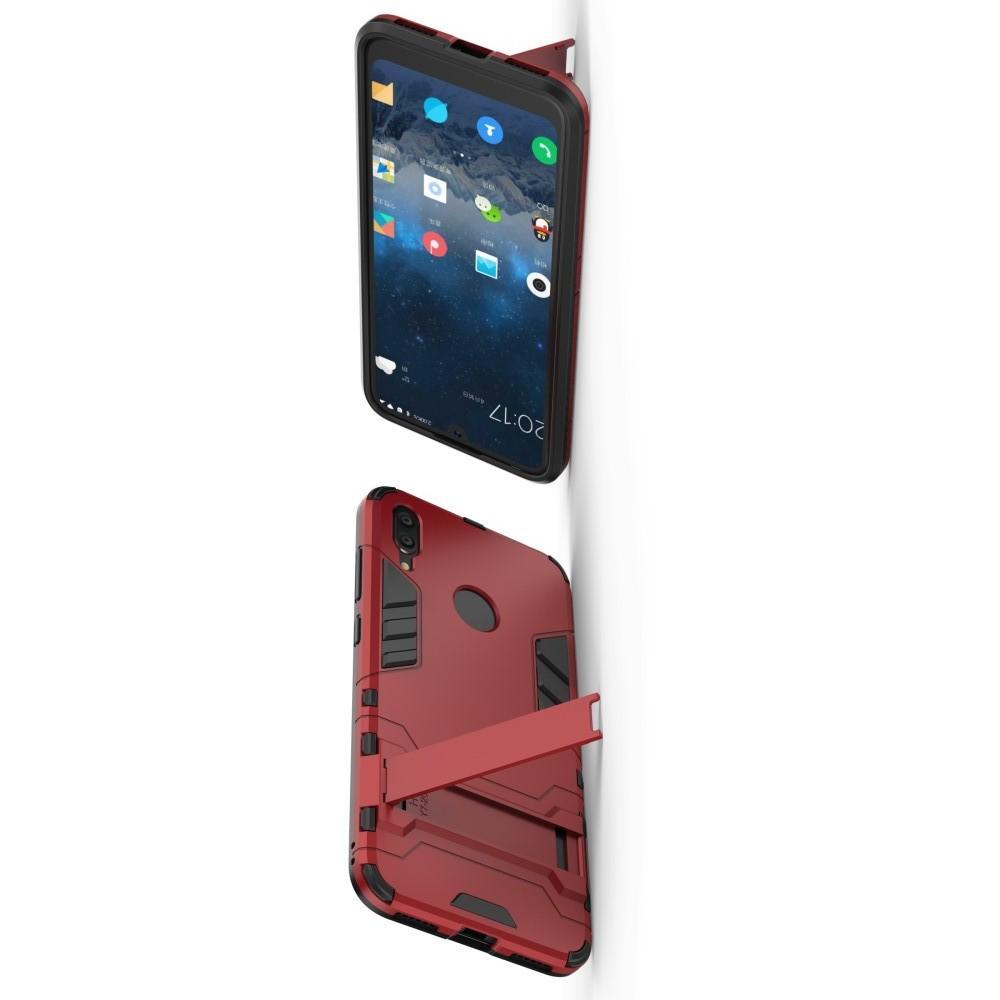 Защитный усиленный гибридный чехол противоударный с подставкой для Huawei Y7 / Y7 Pro 2019 Красный