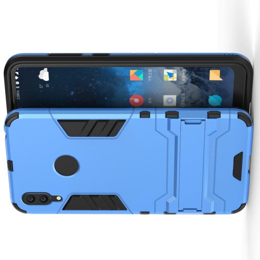 Защитный усиленный гибридный чехол противоударный с подставкой для Huawei Y7 / Y7 Pro 2019 Синий