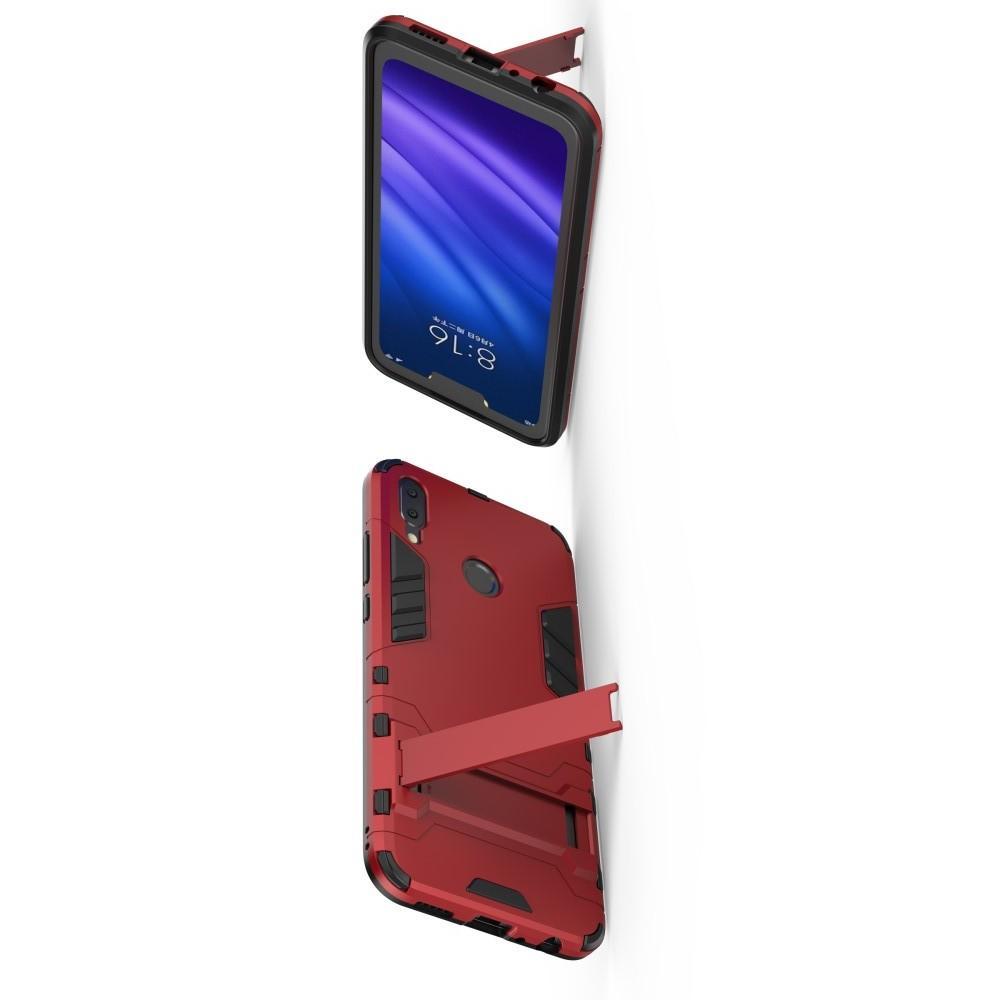 Защитный усиленный гибридный чехол противоударный с подставкой для Huawei Y9 2019 Красный