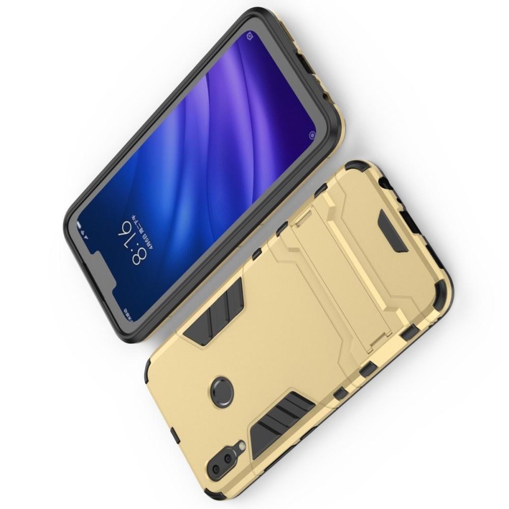 Защитный усиленный гибридный чехол противоударный с подставкой для Huawei Y9 2019 Золотой