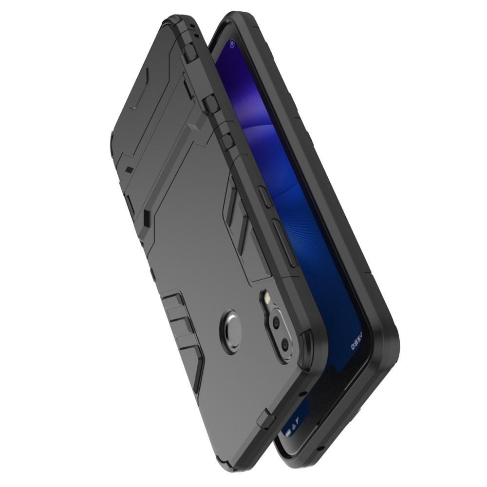Защитный усиленный гибридный чехол противоударный с подставкой для Huawei Y9 2019 Серый