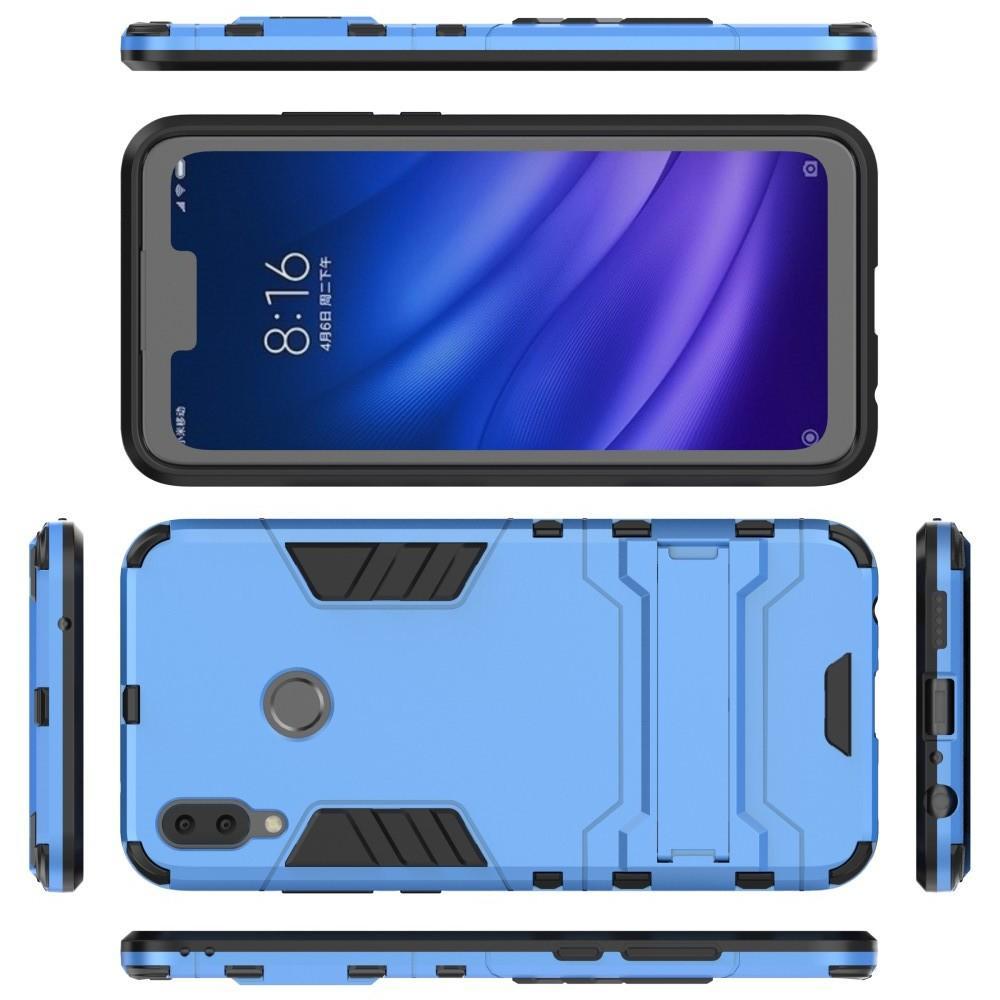 Защитный усиленный гибридный чехол противоударный с подставкой для Huawei Y9 2019 Синий