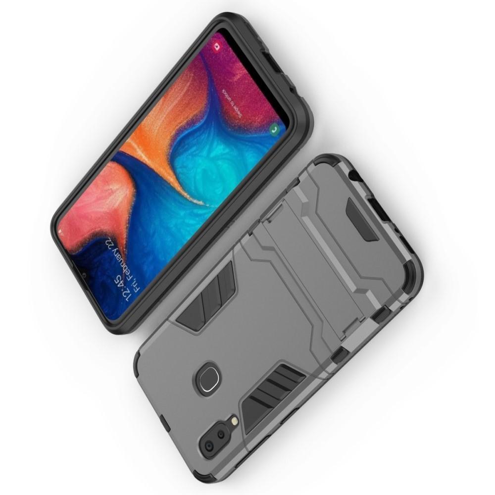 Защитный усиленный гибридный чехол противоударный с подставкой для Samsung Galaxy A20e Серый